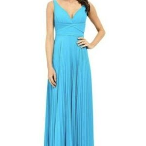 Laundry Shelli Segal Pleated Open Back Gown Blue 6